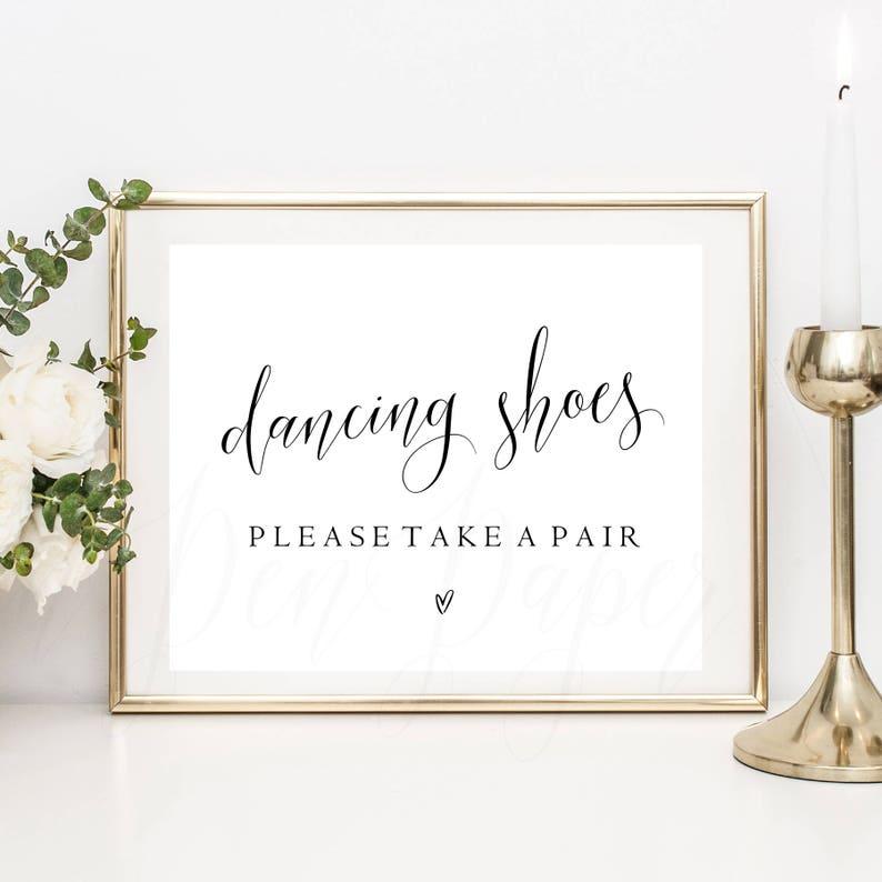 debf2c3c60e59 Dancing Shoes please take a pair wedding sign wedding
