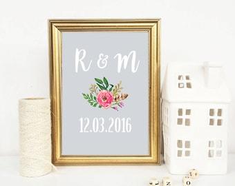 Personalised Wedding anniversary print, Printable Anniversary Gift, wedding gift, Home Decor, wall art, wedding sign,  flower, bride groom