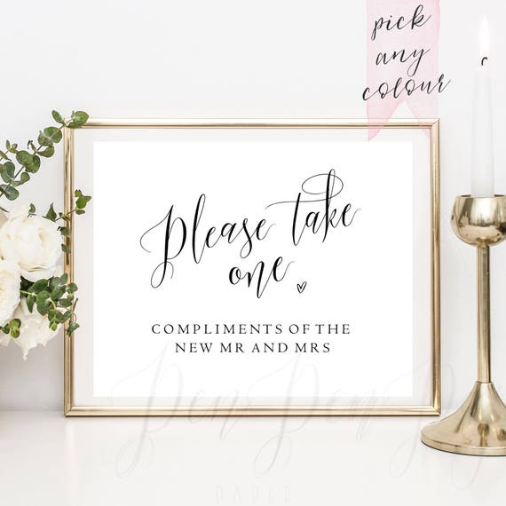 Please Take One Wedding Favour Sign Wedding Favor Sign Etsy