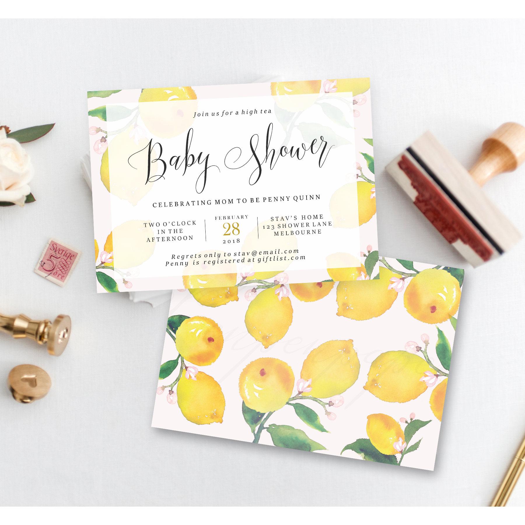 Baby Shower High Tea Invitation Lemon Baby Shower Invite Etsy