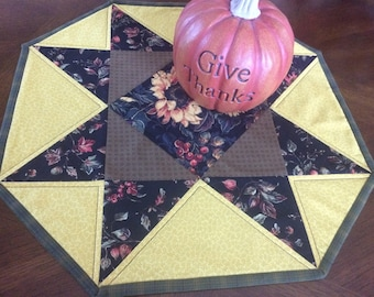 Fall Themed Table Runner, Octagon Shaped Table Runner, Fall Fabric