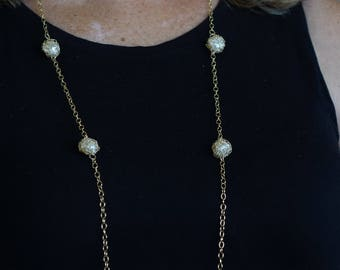 Gold pearl ball necklace, Long necklace, wire crochet, Statement necklace, Boho necklace