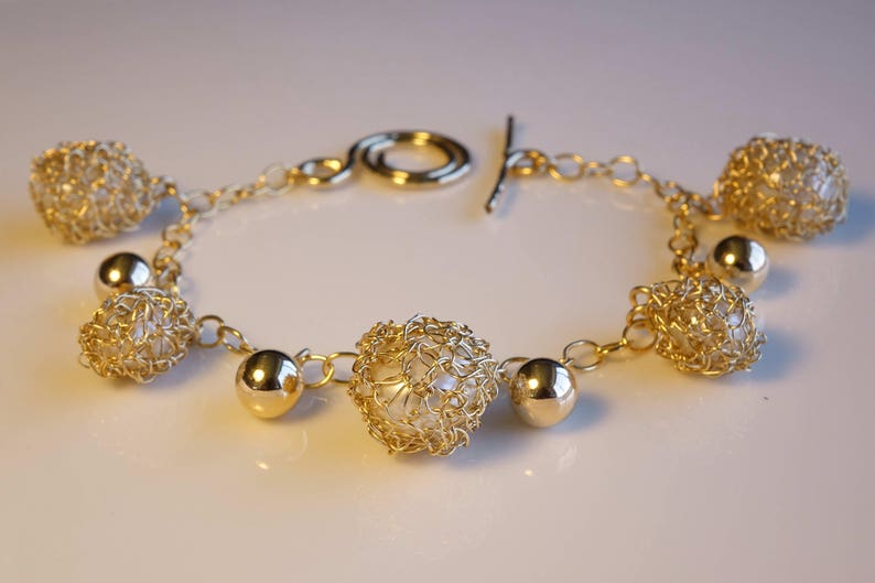 Pearl dangling charms bracelet Gold bangle Gold pearl charm bangle,Unique Bracelet,Luxury Bracelet,\u00a0Gift for her