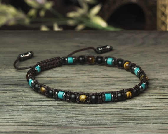 Gorgeous men's/women's bracelet Ø4mm turquoise eye Tiger agate/Black Onyx matte Hematite Tibetan style BRATIFIAN18