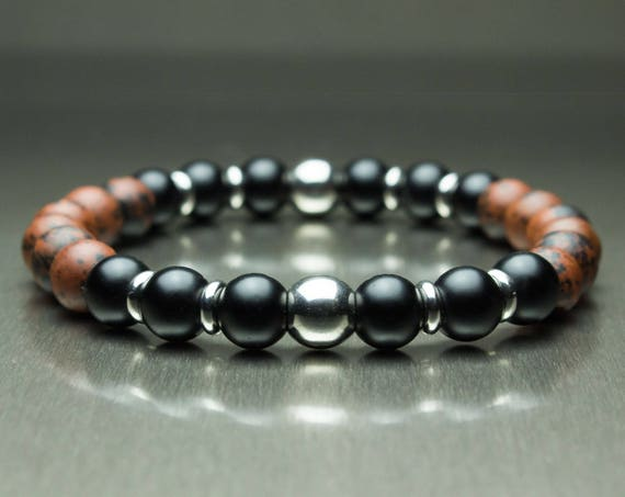 Sublime BRACELET man/woman Brown Mahogany Obsidian natural stone beads 8mm matte black Agate (Onyx) + inox/stainless steel rings