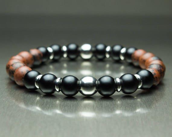 Sublime BRACELET men/women natural stone beads mahogany Obsidian Brown 8mm + black agate matte (Onyx) + rings stainless steel/stainless