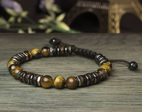 Bracelet men/men Ø 8mm beads Tiger eye Hematite stainless steel wood Coco style Tibetan made in France