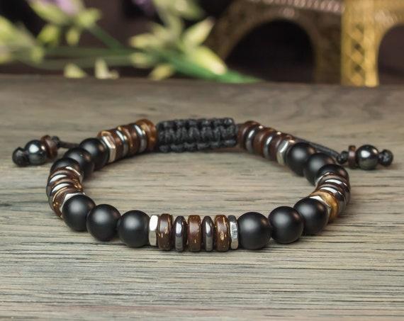 Bracelet men/men Tibetan 8mm beads agate/Onyx black matte Hematite stainless steel wood Coco made in France