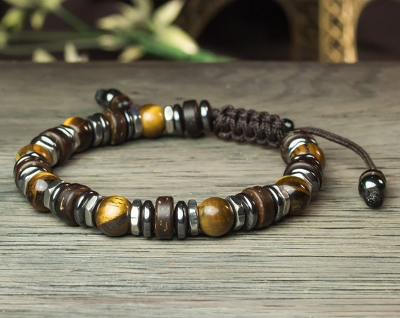 Gorgeous men's/women's bracelet Ø 8mm beads Tiger eye Hematite stainless steel wood Coco Tibetan made in France