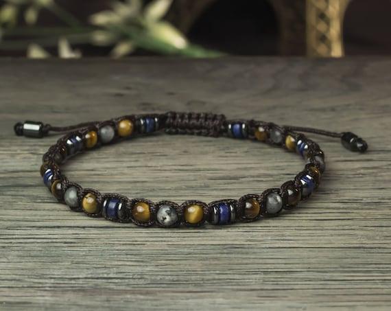 Gorgeous men's/women's bracelet Ø4mm beads lapis lazuli Tiger eye Larvikite Labradorite Hematite Tibetan style 1000ola