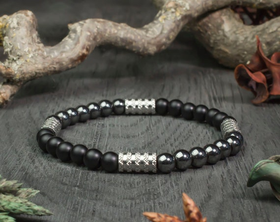 Sublime BRACELET men beads Ø 6 mm matte black Agate (Onyx) steel Hematite natural stone jewelry quality handmade 1000ola stainless/inox