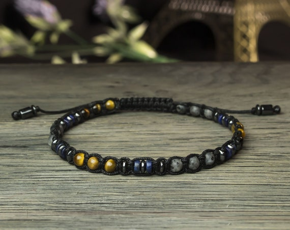 Gorgeous men's/women's bracelet Ø4mm beads lapis lazuli Tiger eye Larvikite Labradorite Hematite Tibetan style BRATIFIAN18