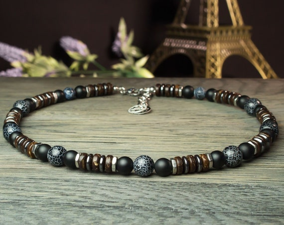 Sublime necklace man beads Ø8 - 10 mm natural stone Agate Onyx Spider Web wood coconut hematite metal stainless silver color