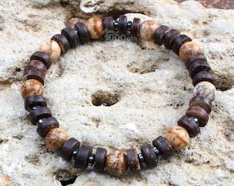 Crafts Buy Cheap Fait Main Bracelet Homme Perles En Bois Naturelles Cocotier Turquoise Hématite