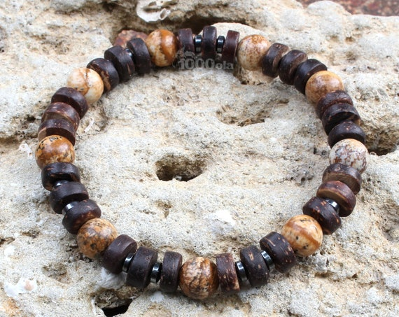 Beautiful men/women Bracelet beads Ø 8mm natural stone beige-Brown Picasso Jasper, coconut/coconut wood, Hematite Made in France P208