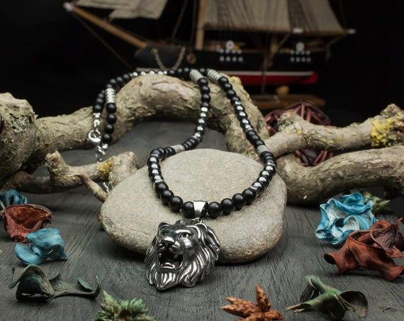 Necklace man beads 6mm natural Agate/Onyx stone matte black Hematite pendant Lion stainless metal Style medieval antique silver color
