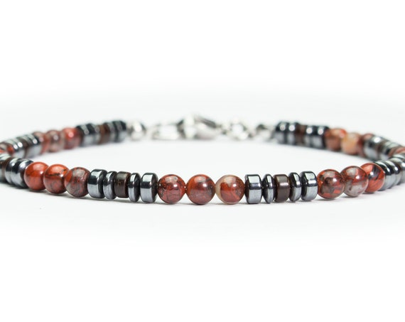 New men/women BRACELET beads 4 mm natural stone Jasper red hematite wood coconut rings Inox/stainless steel lobster clasp