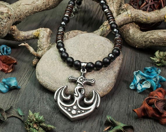 Stainless metal antique Style anchor necklace men gemstone natural Agate/Onyx 8mm hematite pendant coco wood