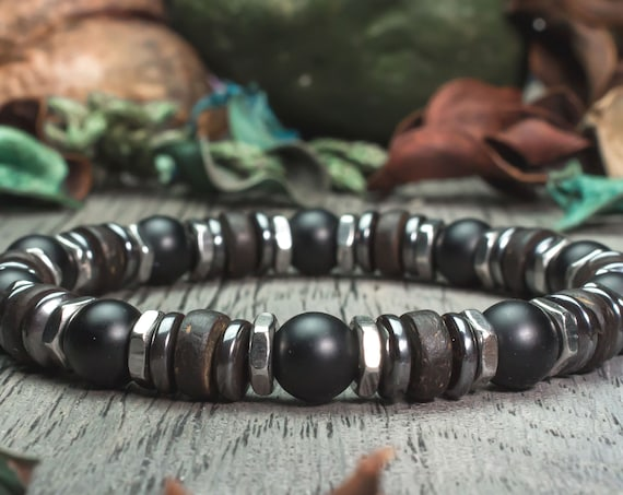 Beautiful Bracelet men/Men beads Ø 8mm natural Agate/Onyx black matte wood coconut/coconut Hematite Hexagon stainless steel
