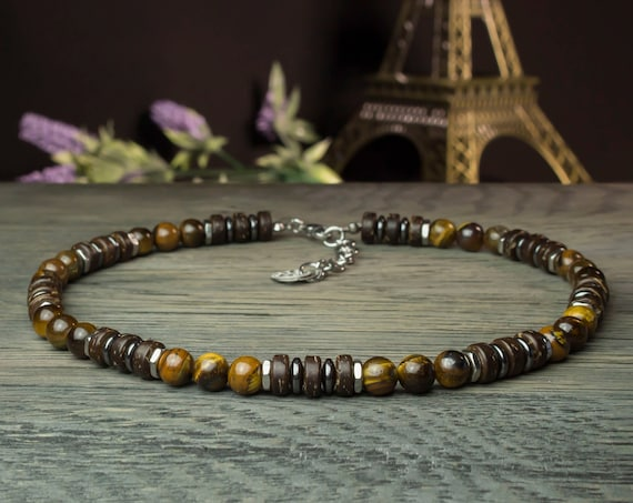 Sublime necklace man/woman stone natural 8 mm Tiger Œil wood coconut hematite metal stainless silver color
