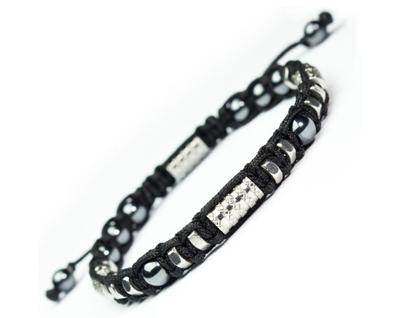 BRACELET men beads Ø6mm Hematite tubes hexagons metal stainless/stainless silver color black nylon wire made in France