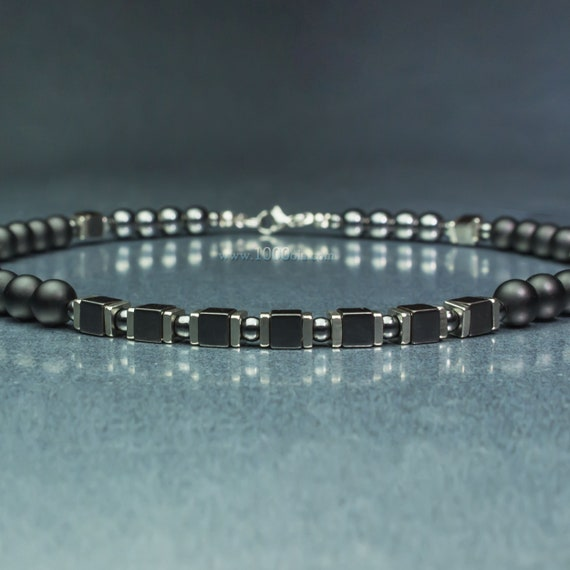 Men's/men's beads 8mm gem gemstone agate black Hematite cubes stainless steel silver color made in France