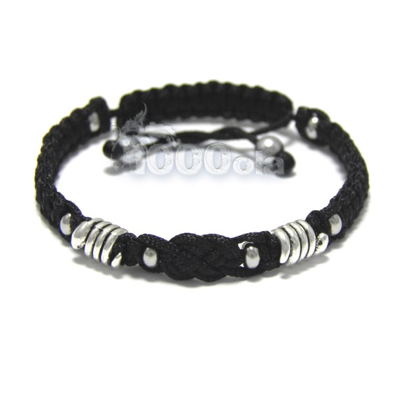 Handmade elegant braided BRACELET men's style SHAMBALA metal snake beads + black nylon yarn