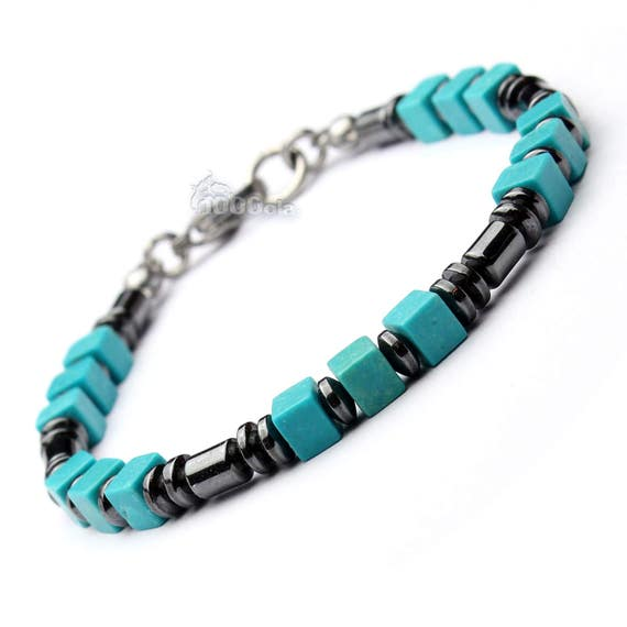 Man beads 4 mm stones BRACELET natural hematite black howlite turquoise cube 5x5mm clasp steel stainless/Inox P145