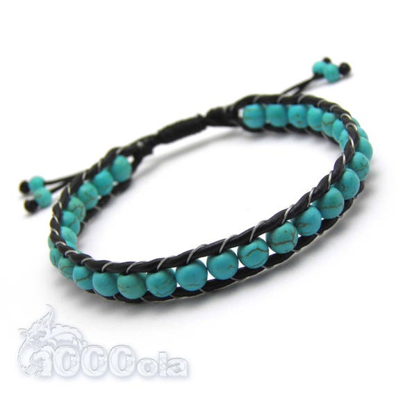 Bracelet men/women genuine leather beads Ø 6mm beads natural stone howlite Color Turquoise