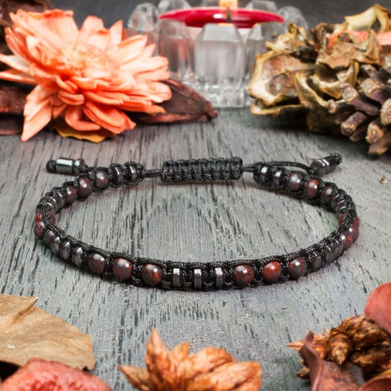 Stylish men's bracelet beads Ø 4mm natural stone Jaspe/Jasper Picasso grey-red Hematite black and nylon yarn