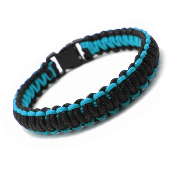 Braided bracelet men/women style survival bracelet - PARACORD-black-blue waxed cotton thread
