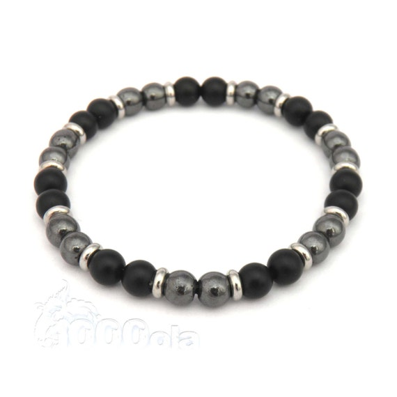 Fashion trend bracelet Men's Pearls Agate matte black (Onyx) - Hematite 6mm - stainless metal rings
