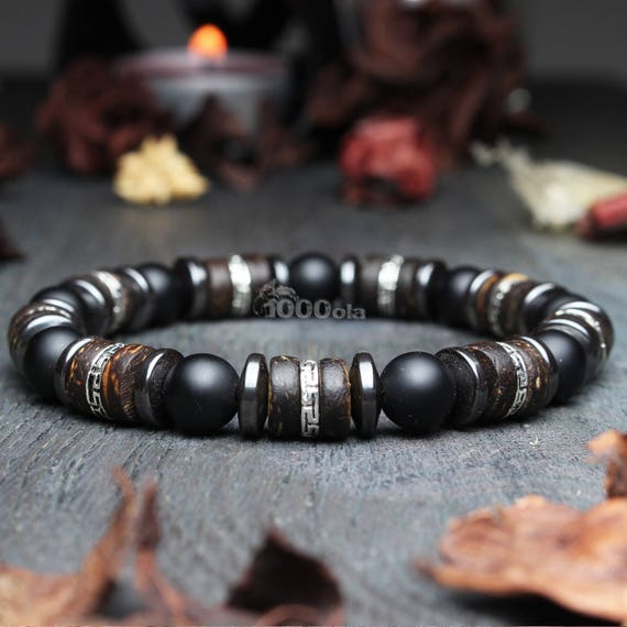 Man/woman Bracelet beads Ø 8mm natural Agate black Mat wood coconut/coconut Hematite Metal look Antique Tibetan style