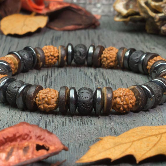 Beautiful Bracelet men/Men's Tibetan style beads Ø 8 mm Rudraksha wood coconut/coconut lava volcanic Hematite handmade seeds