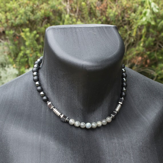 Male/Men's pearls 8mm gemstone Larvikite Labradorite Agate Black Hematite Silver stainless steel