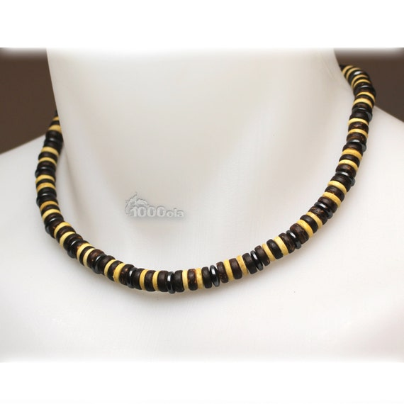 Male/female surfer/surf style necklace beads natural wood coconut/coconut Ø 8 mm gemstone hematite P114