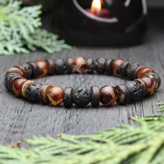 Beautiful Men's Pearl bracelet - 8mm Natural Stone Agate Motif Tibetain Dzi Volcanic Lava Cocotier Wood/Coco Made in France