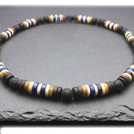 Surfer/surf ing collar surfer/woman Natural stone Lapis blue Lava Volcanic Wood Cocotier/Coco - 8mm P95