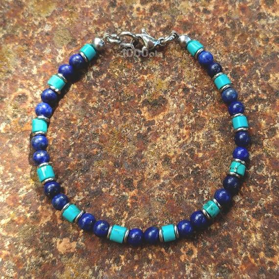 Élégant BRACELET Homme/Femme Perles 4mm Pierre Naturelle Véritable Turquoise stabilisée Lapis Lazuli fermoir mousqueton Inox