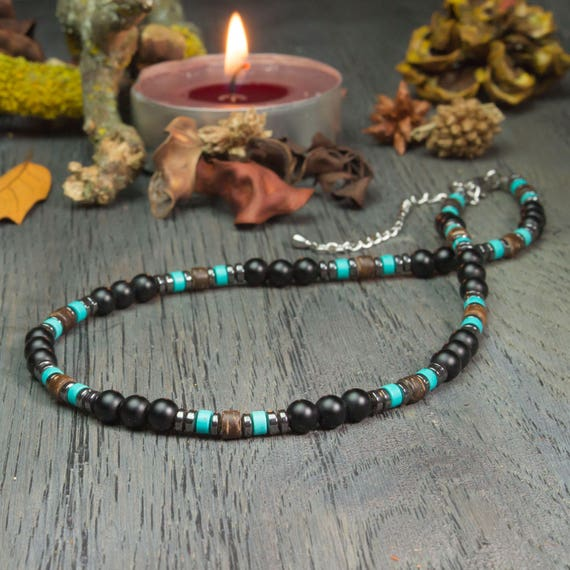 Jewelry high quality necklace man stone natural genuine stabilized Turquoise Agate/Onyx 6mm black wood coconut hematite stainless metal