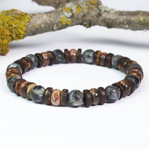 Men's Pearl Strap - 8mm Natural Stone Jaspe Leopard, Larvikite Labradorite Grey Cocotier Wood/Coco Made in France Men's Bracelet