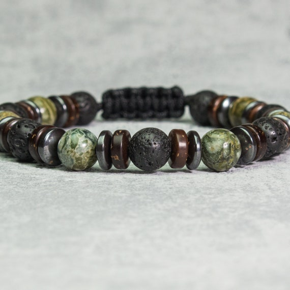 Men's bracelet Tibetan style beads 8mm green Jaspe stones Lava Volcanic black washers Hematite coconut wood/coco