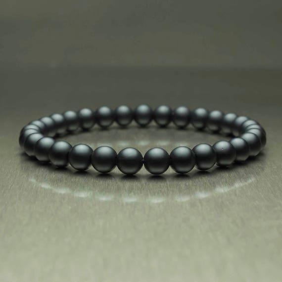 Beautiful man Bracelet black beads Ø 6 mm natural stone Agate/Onyx Matt is handmade