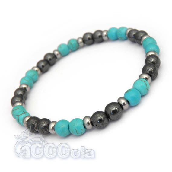Fashion trendy BRACELET man/woman beads 6 mm stone natural turquoise howlite + Hematite + stainless Metal rings