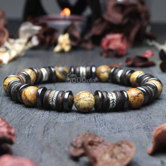 Men/women bracelet beads Ø 8mm natural Jasper/Jasper Picasso wood coconut/coconut Hematite Metal look Antique Tibetan style