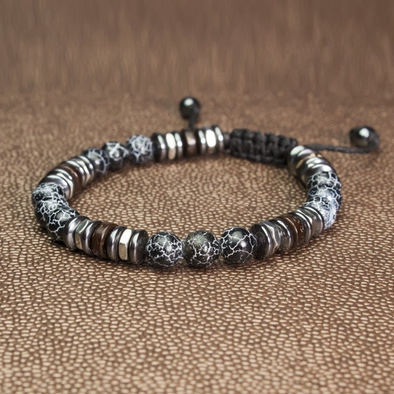 Men's Bracelet/Men Women/Women Tibetan 8mm Pearls Stone Agate Spider web Hematite Stainless Steel Wood Coco Made in France