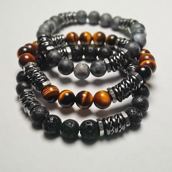 Lot 3 Bracelets perles 8mm pierres naturelles Œil Tigre Labradorite Gris mat Lave Volcanique noir Hématite rondelles acier inox 1000ola
