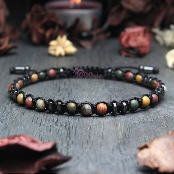 Elegant Tibetan STYLE bracelet Mala Homme beaded - 4mm in Jaspe Natural Stone/Jasper Picasso Black Hematite and nylon yarn