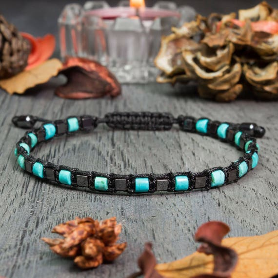 BRACELET men 4mm beads natural gemstone turquoise stabilized Hematite cube nylon yarn handmade in France creation jewelry 1000ola