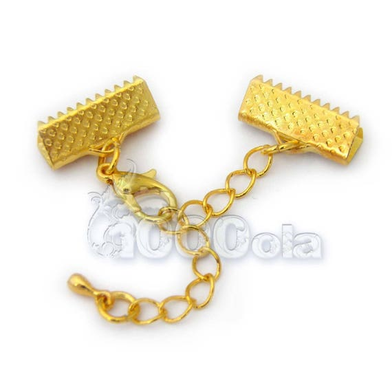 """Lot 4 sets gold color """"Caps claw 13x8mm + chain Extender + lobster clasp closure"""" for creating jewelry Bracelet Necklace"""